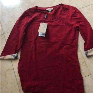 Burberry red 3/4 length shirt
